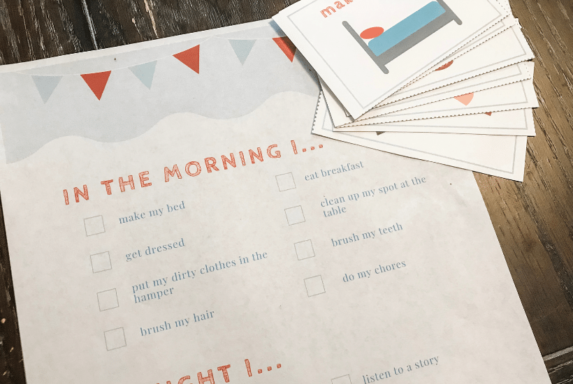 Morning and Nightly Routines for Kids (with Checklist and Visual Cards)