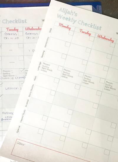 Homeschool Daily Checklist