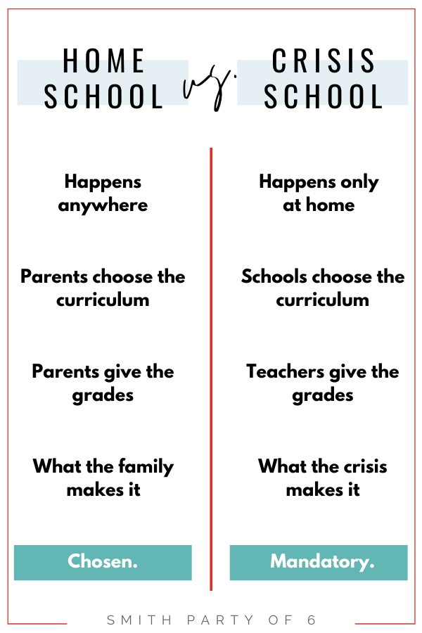 Home School vs Crisis School (Quarantine Schooling is not the same as Homeschooling)